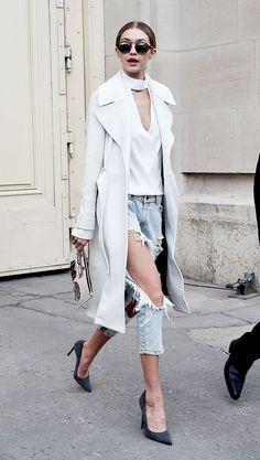Gigi Hadid, Outfit, Style, Choker Top, Jeans, Coat, Sunglasses, Heels