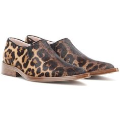 Victoria Beckham Printed Calf Hair Loafers ($565) ❤ liked on Polyvore featuring shoes, loafers, flats, brown, leopard shoes, leopard print flat shoes, loafer flats, brown shoes and brown flats