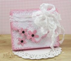 Creative ColorBox Blends Project Ideas: Scalloped Flap Box with Daisy Wreath Embossing by Julia Aston