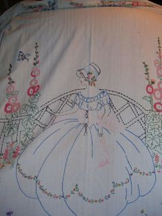 Southern Belle Coverlet with French Knot flowers