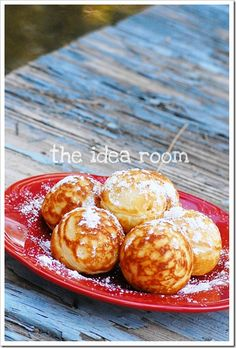 Aebleskiver Recipe - Poffertjes / Aebleskivers / Danish pancakes- just got the pan today! Can't wait to try these 😀 - Breakfast Dishes, Eat Breakfast, Breakfast Recipes, Brunch Recipes, Gourmet Recipes, Baking Recipes, Pancakes And Waffles, Danish Pancakes, Aebleskiver Recipe
