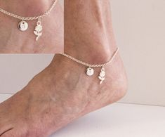 Silver initial flower anklet rose anklet ankle bracelet silver anklet anklet beach jewellery anklet yoga jewellery by StatementMadeUK Anklet Jewelry, Rose Jewelry, Beach Jewelry, Gifts For Your Sister, Mum Gifts, Auntie Gifts, Sister Gifts, Ankle Bracelets, Silver Bracelets