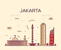 Jakarta Skyline Trendy Vector Illustration Linear by gropgrop Jakarta skyline detailed silhouette Trendy vector illustration linear style Night Illustration, Travel Illustration, Landscape Illustration, Amsterdam, Graffiti Words, City Icon, Landscape Background, Travel Logo, City Landscape