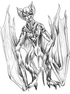 Fangalobolo- Madagascar cryptid: a 4ft tall bat creature with a 6ft long wingspan. It is ape-like and lives in caves, where it drags it's human prey.