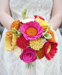 "Felt Bouquet - Wedding Bouquet - Alternative Bouquet - ""Bright Fall"""