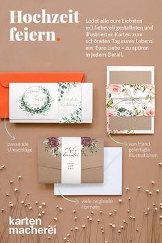 Gestalte jetzt deine Hochzeitseinladungen und bestelle drei gratis Muster. Place Cards, Place Card Holders, Stationary, Wedding, Future, Tags, Paper, Illustrated Maps, Card Wedding