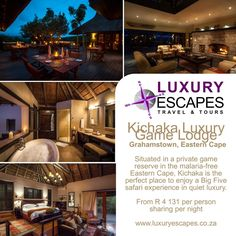 Kichaka Luxury Game Lodge.  Grahamstown, Eastern Cape. Situated in a private game reserve in the malaria-free Eastern Cape, Kichaka is the perfect place to enjoy a Big Five safari experience in quiet luxury. www.luxuryescapes.co.za