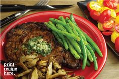 Chili-Rubbed Rib-Eye Steaks with Cilantro Butter The rib-eye steak is ...