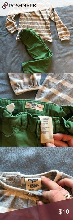 OshKosh Green Pants and Grey Striped Shirt OshKosh B'Gosh green pants and grey striped shirt, size 4T. Bow detail on the shoulder of the shirt, EUC OshKosh B'gosh Matching Sets
