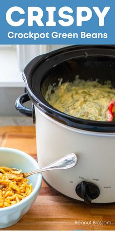 Crockpot green bean casserole is a perfect recipe for feeding a crowd at Thanksgiving. Make it ahead in the morning and the green beans will keep warm all day. You can still have the signature crispy fried onion topping if you follow this simple serving trick. Holiday Side Dishes, Thanksgiving Side Dishes, Thanksgiving Recipes, Green Bean Casserole, Sweet Potato Casserole, Slow Cooker Recipes, Crockpot Recipes, Cream Of Chicken Soup