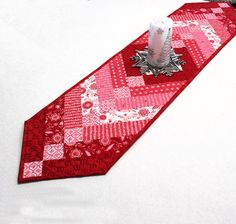 French Braid Valentines Day Table Runner Quilt by QuiltSewPieceful, $47.00