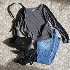 Lacey long sleeve shirt Grey top with black floral lace on the sleeves from shoulder to wrist. Dress it up or dress it down. Worn once. Tops Tees - Long Sleeve