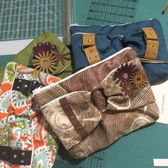 Sampling of our Alpaca Accents Touch Clutch purses.  Each is handmade using the fabric and leather of your choosing.