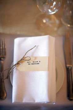 "Vintage tag with rustic twine and ""eat, drink, and be married"" place setting idea for wedding."