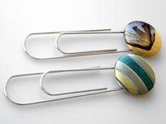 Recycled Necktie Paperclip / Bookmark Set of 2 - Aqua/Lime by Ascot Handbags, via Flickr