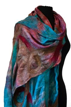 Nuno felted scarf on silk habotai teal red brown by parvana, $142.00