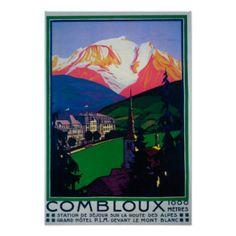 Ski à l'affiche promotionnelle de Combloux Poster