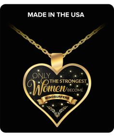 Windsurfer Necklace Windsurf Gifts for Women - Only the Strongest Wome – Cute But Rude Heart Shaped Necklace, Heart Pendant Necklace, Gold Plated Necklace, Gold Necklace, Gifts For Women, Gifts For Her, Gifts For Office, Perfect Gift For Her, Strong Women