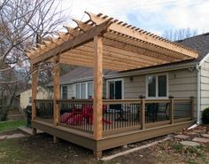 Pergola on the roof? Adding a new structure to a patio of backyard can be done in many ways. One idea is to look at pergola plans and ideas for a project you might want to do. Diy Pergola, Cedar Pergola, Building A Pergola, Pergola Canopy, Deck With Pergola, Wooden Pergola, Diy Deck, Outdoor Pergola, Backyard Patio