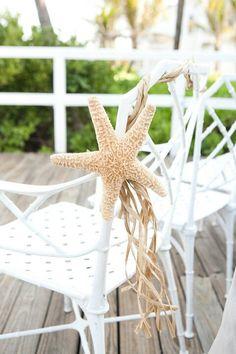 Beach wedding Starfish raffia