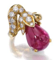 1970s René Boivin Ruby and Diamond Ring