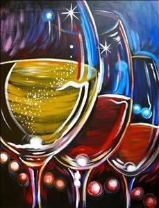easy wine glass painting on canvas ideas - Google Search