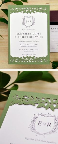 DIY laser cut wedding invitations with the Laurel Leaves slide-in card from Cards & Pockets. Perfect for greenery wedding, spring, or summer wedding. Cricut Wedding Invitations, Laser Cut Invitation, Invite, Summer Wedding, Wedding Day, Monogram Wedding, Wedding Monograms, Popular Wedding Colors, Laurel Leaves