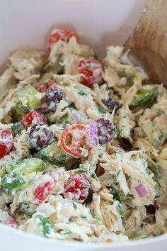ღღ Greek Chicken Salad. With a healthy tzaziki dressing.