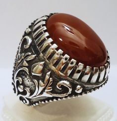 925 Sterling Silver Men's Ring with Agate Aqeeq Great Design Free Resizing