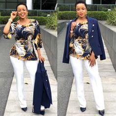 Happy Thursday everybody 💙💛💙💛 Black Girl Fashion, Womens Fashion, Ladies Fashion, Peplum Coat, Ankara Jackets, Stylish Outfits, Formal Outfits, Jacket Style, Business Women