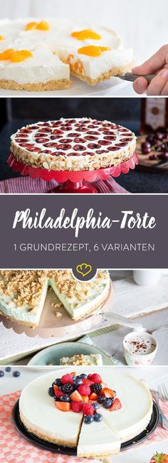Seit Jahrzehnten gebacken, seit… The Philadelphia cake is a real classic. Baked for decades, loved for decades. And discovered again and again. 7 ideas for you! No Bake Chocolate Desserts, No Bake Desserts, Easy Desserts, Delicious Desserts, Dessert Recipes, Sweet Pastries, Food Cakes, Sweet Cakes, Cheesecake Recipes