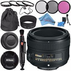 The PixelConnection Is an Authorized Nikon USA Dealer NikonAF-S NIKKOR 50mm f/1.8G Lens 58mm 3pc Filter Kit w/ Case