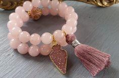 Pink Quartz Stretch Bracelet Set Rose Druzy Charm Nepal Bead