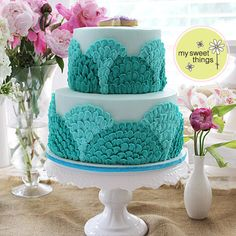 Under the Sea cake: buttercream scalloped petal in shades of aqua ~ My Sweet Things