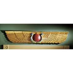 Egyptian Ur Uatchti Winged Sun Disk Sculptural Wall Pediment