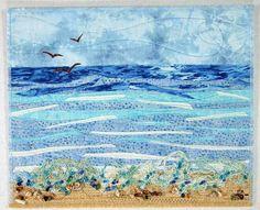 Seascape  Beach Art Quilt by thornberrystudio on Etsy