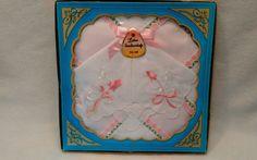 Vintage NEW Ladies Fine Hankerchief White/Pink Floral Hankie in Original Box  | eBay