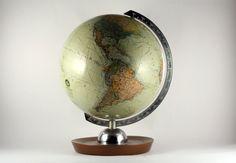 Vintage small German Earth Globe '70s JRO Globus by RetroRetek on Etsy