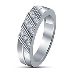 Slant Style Men's Band Ring Round Simulated Diamond 925 Silver Men's Band Ring…