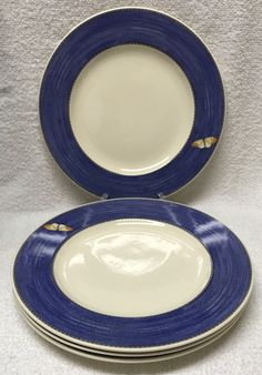 4 Wedgwood Sarah Garden Dinner PLATE Blue Band+Butterfly 10-3/4  England LOT new & 4 Johnson Bros ATHENA bread/butter PLATES white ENGLAND 6-3/8 ...