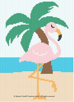 That I created. This graph pattern will make a beautiful heirloom afghan done in single crochet, the afghan or Tunisian crochet stitch, knit, or counted cross stitch onto the background. PINK FLAMINGO with PALM TREE. Cross Stitch Bird, Cross Stitch Alphabet, Cross Stitch Animals, Cross Stitch Patterns, Cross Stitching, Tunisian Crochet Stitches, C2c Crochet, Crochet Chart, Crochet Cross