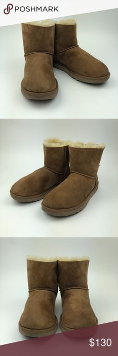 UGG Women's Chestnut Mini Bailey Bow Boots Size 9 UGG Australia Women's Mini Bailey Bow Chestnut Size 9 Pre-owned *Any defects or signs of wear are shown in images -Darker in some areas  PM200 UGG Shoes Winter & Rain Boots
