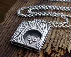 Whimsical  owl in a tree necklace, handmade. , via Etsy.