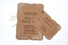 Lace Laser Cut Vintage Inspired Wedding Invitation: Elegant and Rustic, Kraft paper and Black or Brown ink