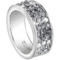 GUESS ROUNDS 54 Women's Rings UBR72519-54. Guess Rounds women's ring. Guess jewels attract young fashion consumers worldwide. Guess Rounds ring is perfect for your casual, urban or rockers looks. This ring is made of silver alloy with stones. Size 14.