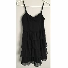 Black Ruffly Dress This dress is in great condition. It has adjustable straps. Feel free to ask any questions:) Aeropostale Dresses Mini
