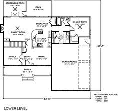 First Floor Plan of Traditional   House Plan 92367