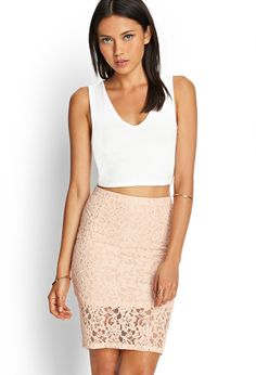 Floral Lace Pencil Skirt   FOREVER21 #SummerForever