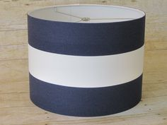 redo new lamp shades with stripes. Drum Lamp Shade Lampshade Pendant Navy White by SweetDreamShades, $56.00