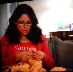Actress Julia Louis-Dreyfus (aka. Elaine from Seinfeld) in the movie 'Enough Said' still knitting that yellow blanket
